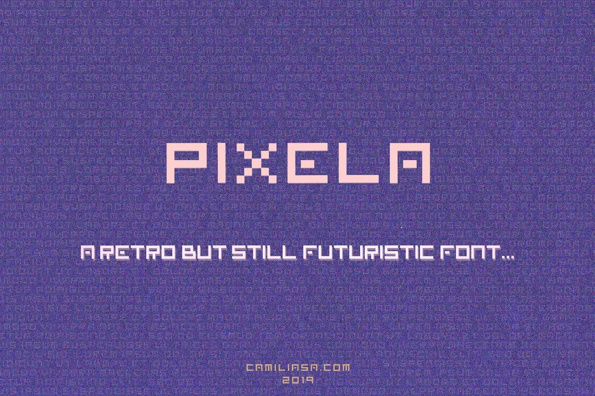 Retro Vintage & Futuristic Display Font  OTF and TTF  Pixela example image 1
