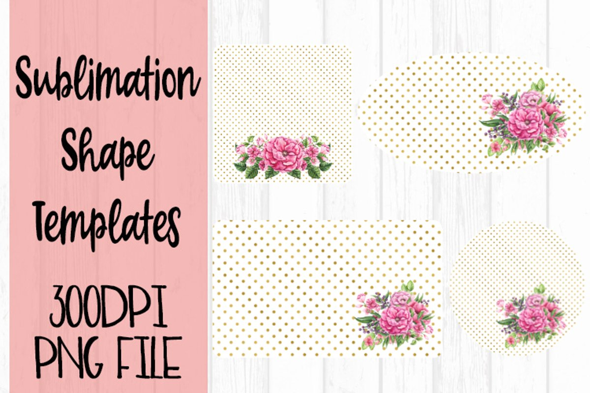 Gold and Watercolor Flowers Sublimation Templates example image 1