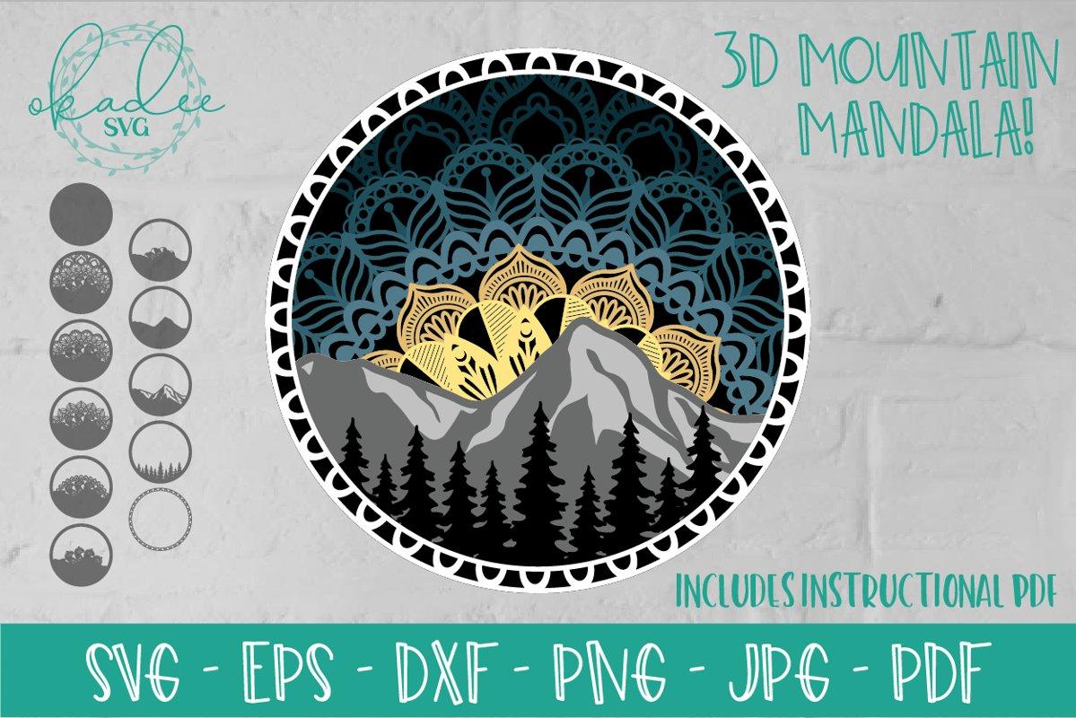 Download 3D Mandala SVG, Layered Mountain SVG, Tree Silhouette ...