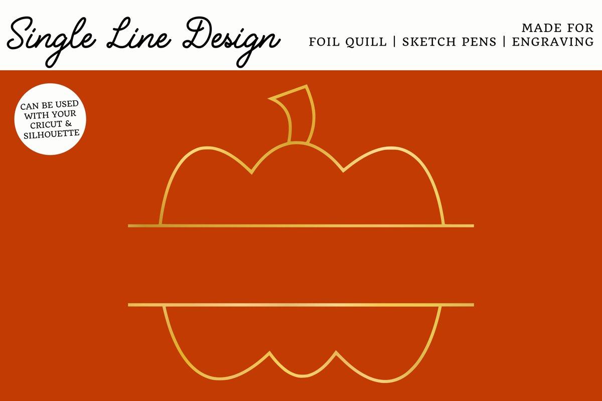 Pumpkin Split Monogram Single Line Design for Foil Quill example image 1