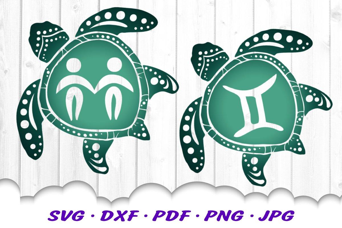 Gemini Zodiac Sign Sea Turtle SVG DXF Cut Files Bundle example image 1