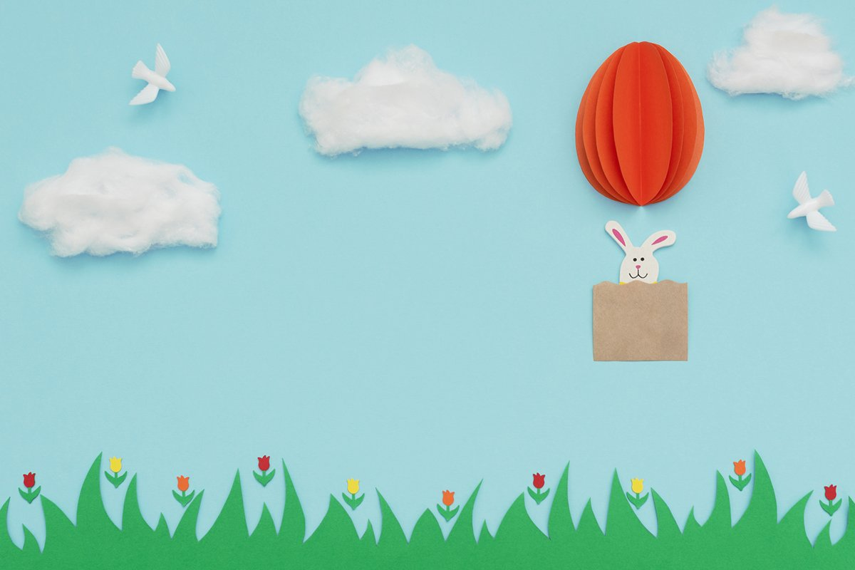 Easter egg hot air balloon made of paper with bunny example image 1