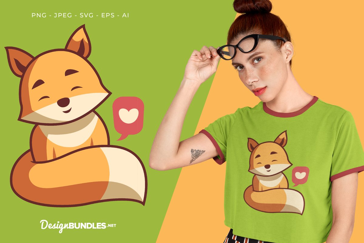 Lovely Fox Vector Illustration For T-Shirt Design example image 1