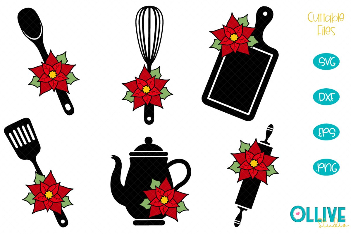 Christmas Floral Baking and kitchen SVG Bundle example image 1
