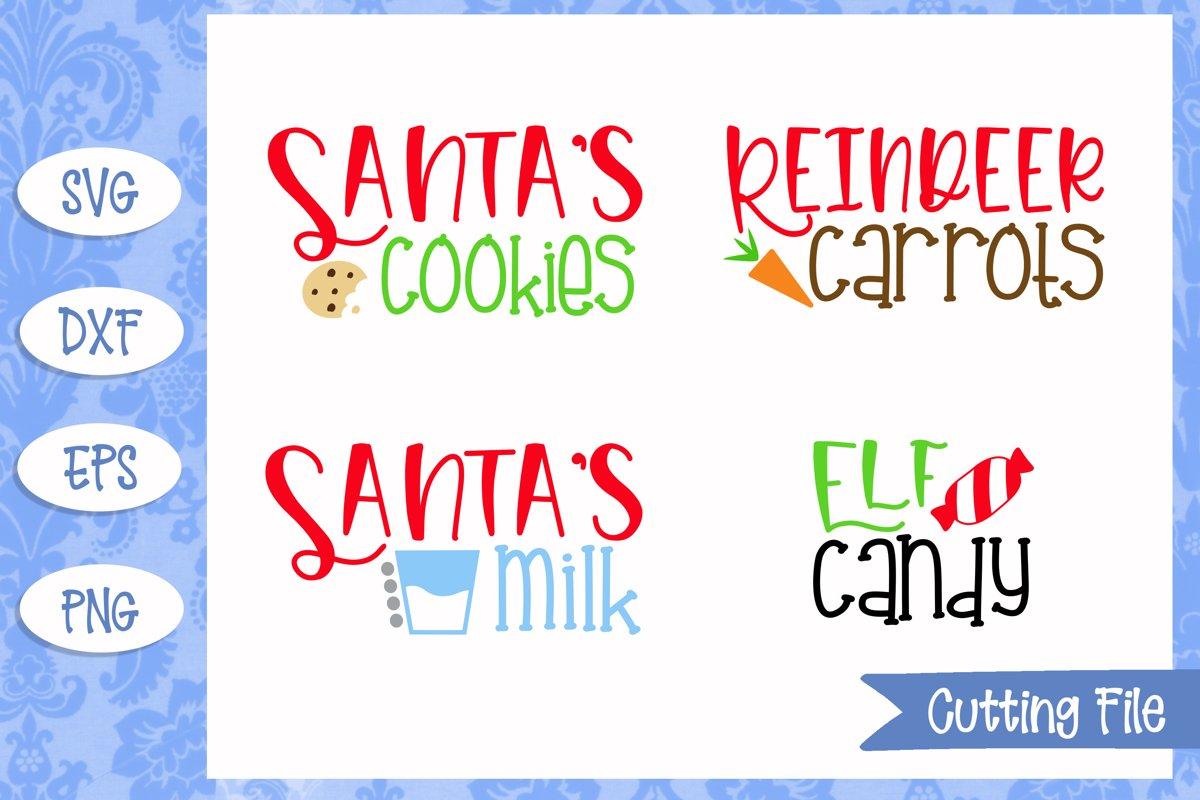 Christmas Treats, Santa, Reindeer, Elf, SVG Cut File example image 1