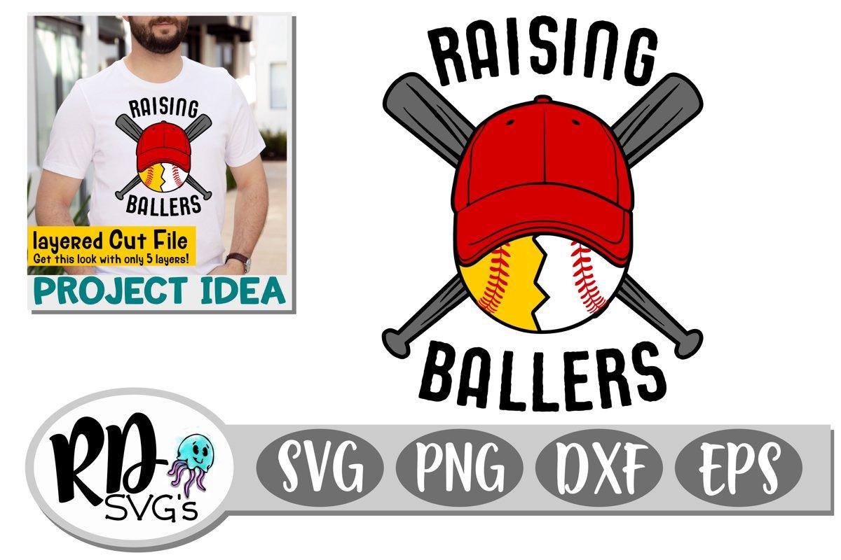 Raising Ballers - A Baseball and Softball Layered Cut File example image 1