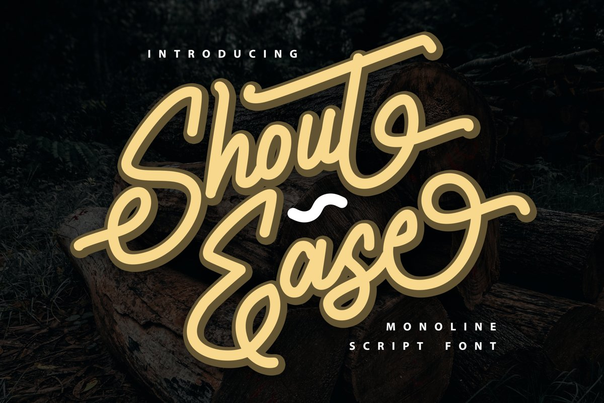 Shout Ease | Monoline Script Font example image 1