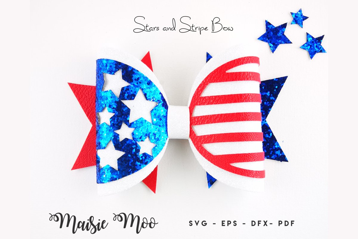 Stars and Stripes Bow SVG, 4th July Bow SVG, Patriotic Bow example image 1
