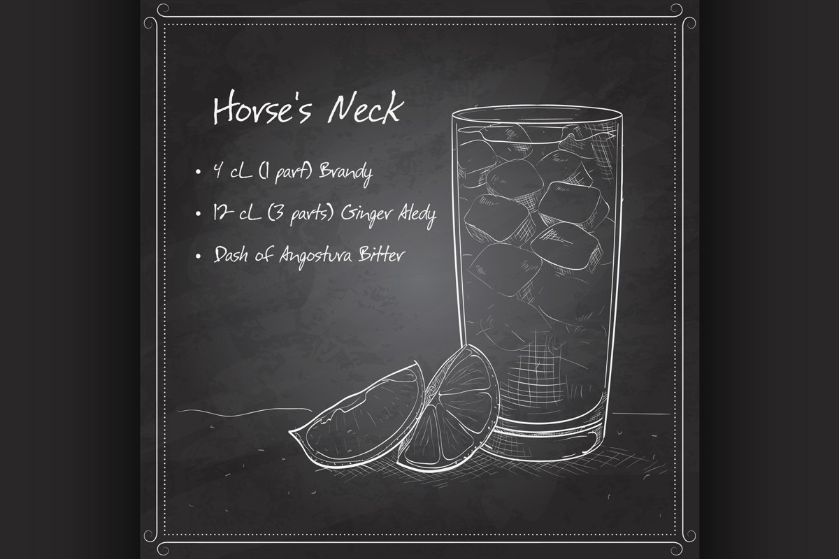 Cocktail Horse Neck on black board example image 1