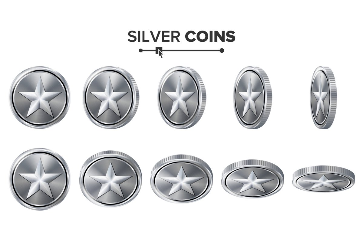 Game 3D Silver Coin Vector With Star. Flip Different Angles. example image 1