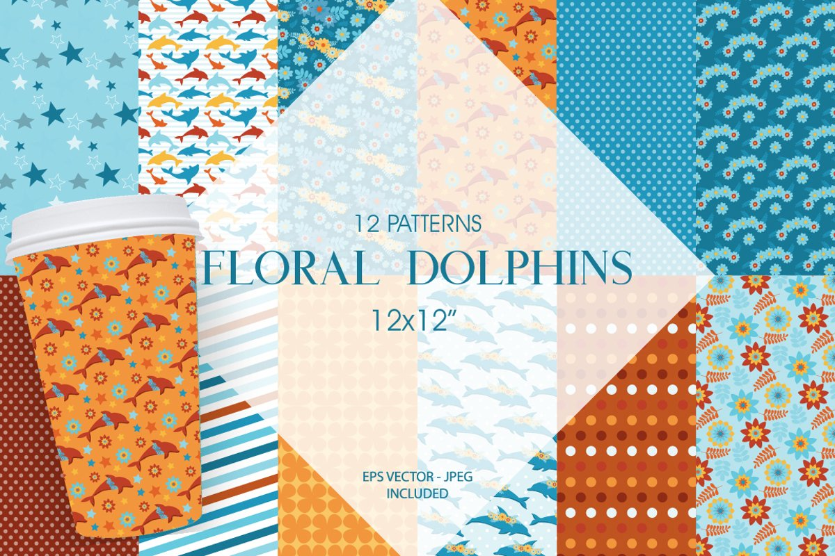 Floral Dolphins Pattern collection, vector ai, eps and example image 1