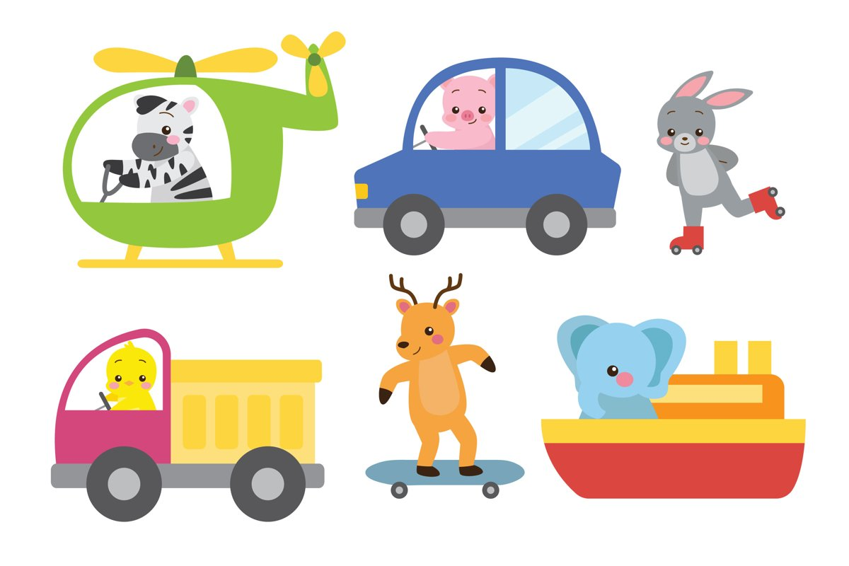 Cute Animals Riding Toy Transport example image 1