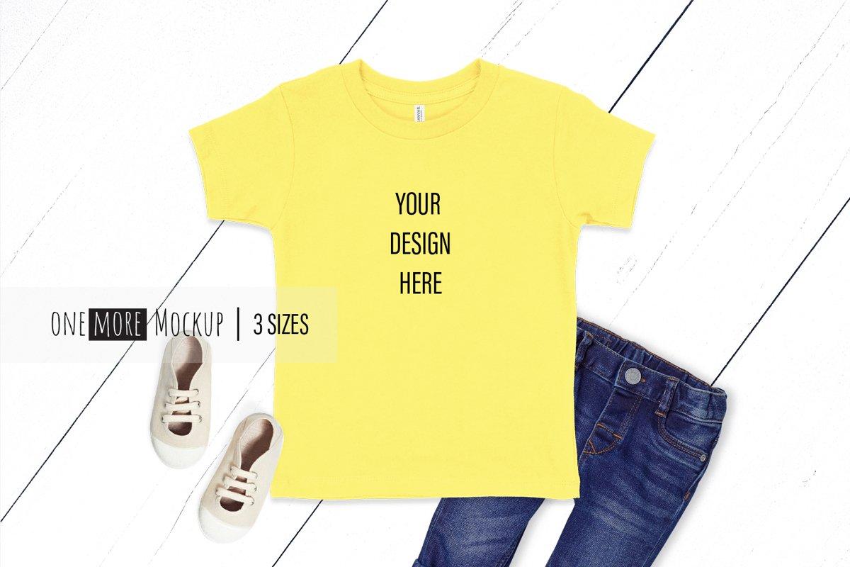 Kids Yellow T-Shirt Mockup I Bella Canvas 3001T Yellow example image 1