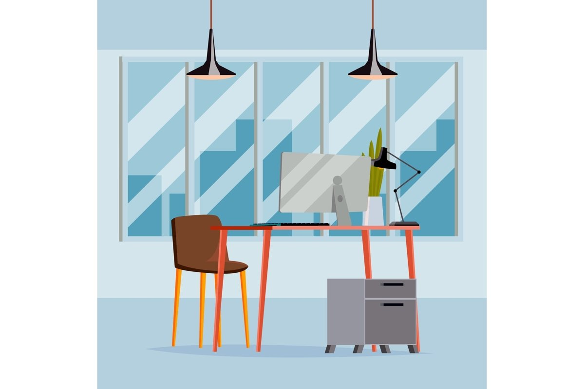 Office Interior Vector. Business Office Workplace. Modern example image 1