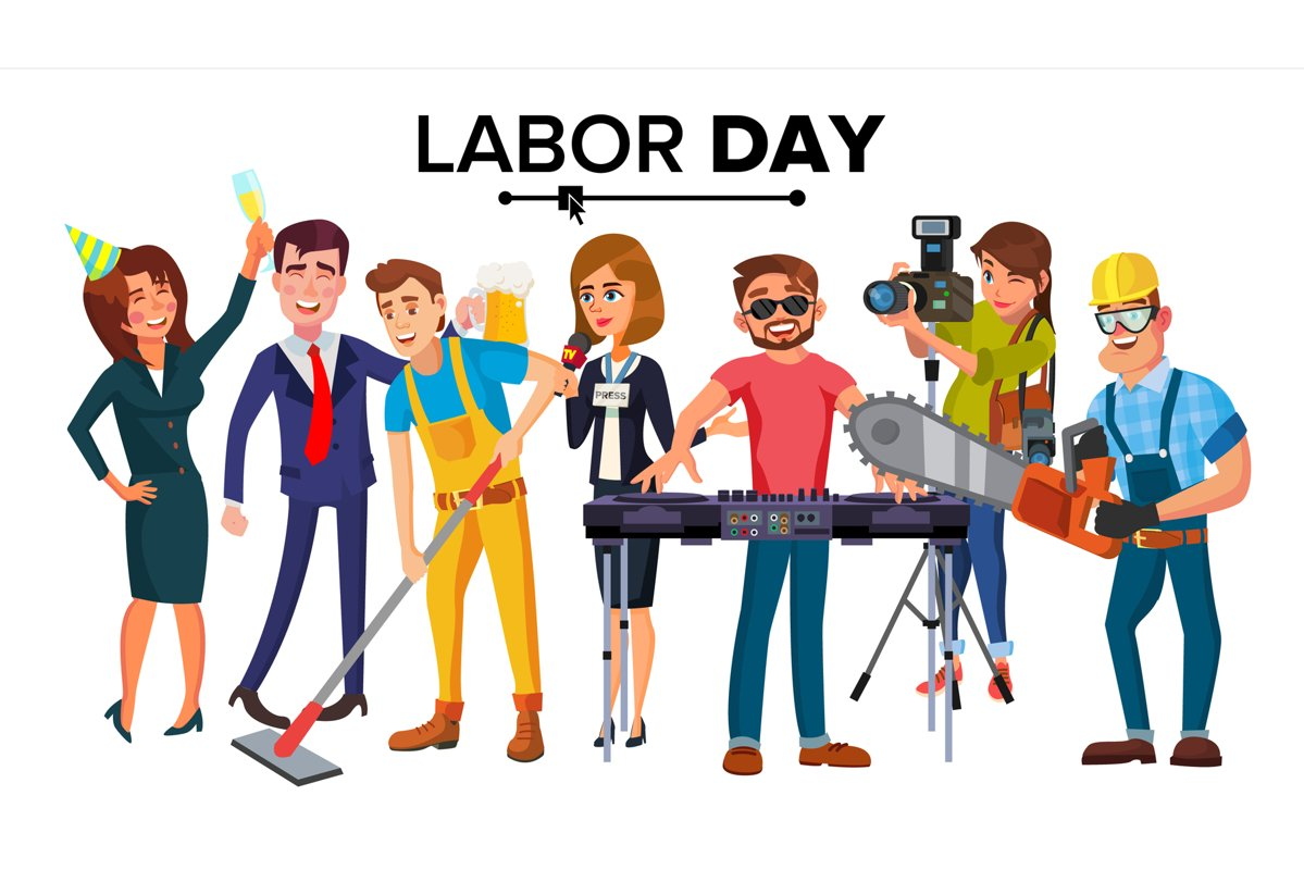 Labor Day Vector. Group Of People. Modern Jobs. Different example image 1