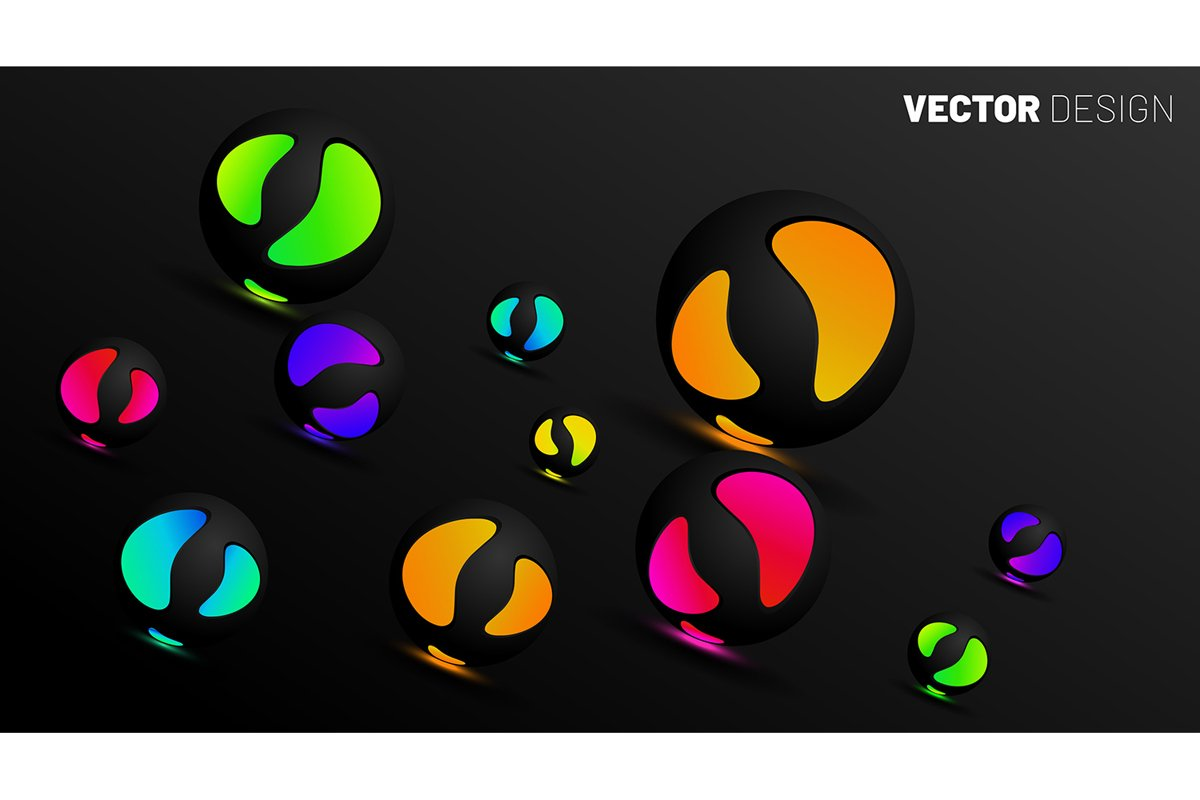 abstract vector background. 3D spherical circle glows example image 1