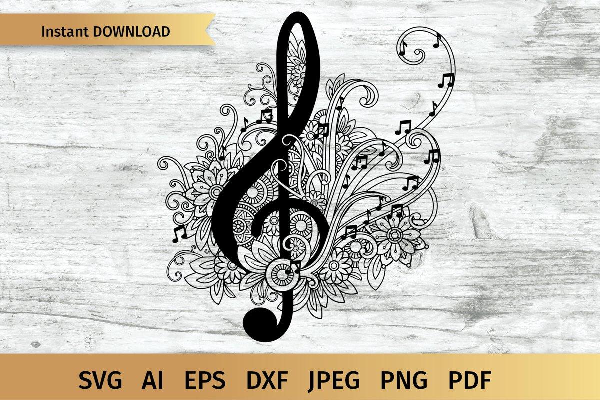 Treble Clef, Music mandala Zentangle SVG example image 1