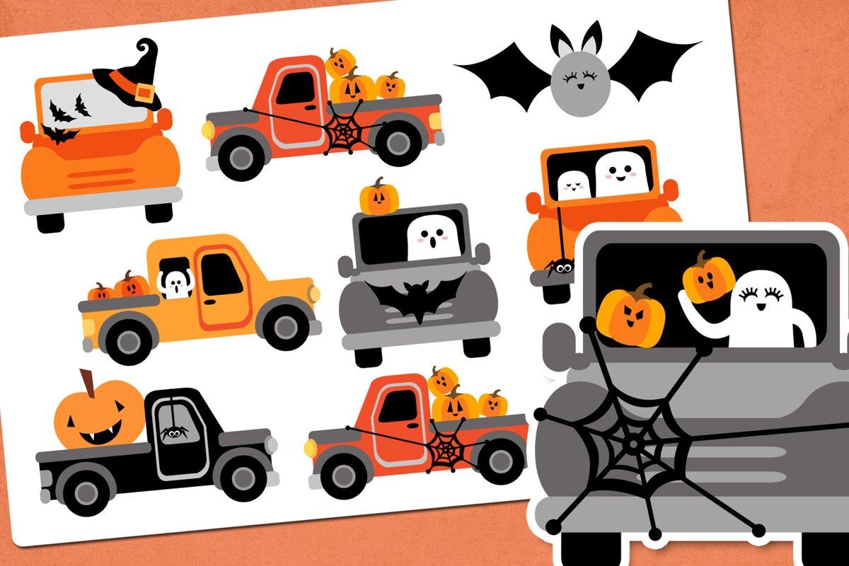Halloween truck illustration clip art example image 1