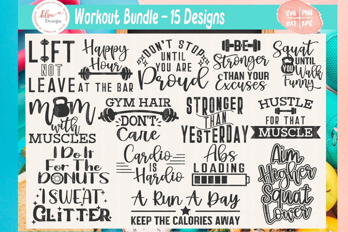 Workout Bundle - Fitness Bundle SVG Cut Files example image 1