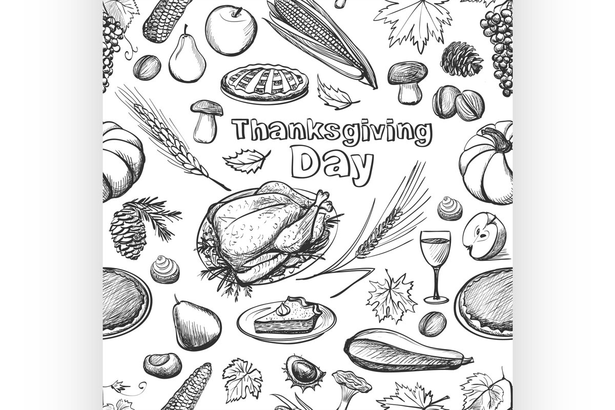 Hand drawn sketch Thanksgiving Day seamless pattern. Vector example image 1