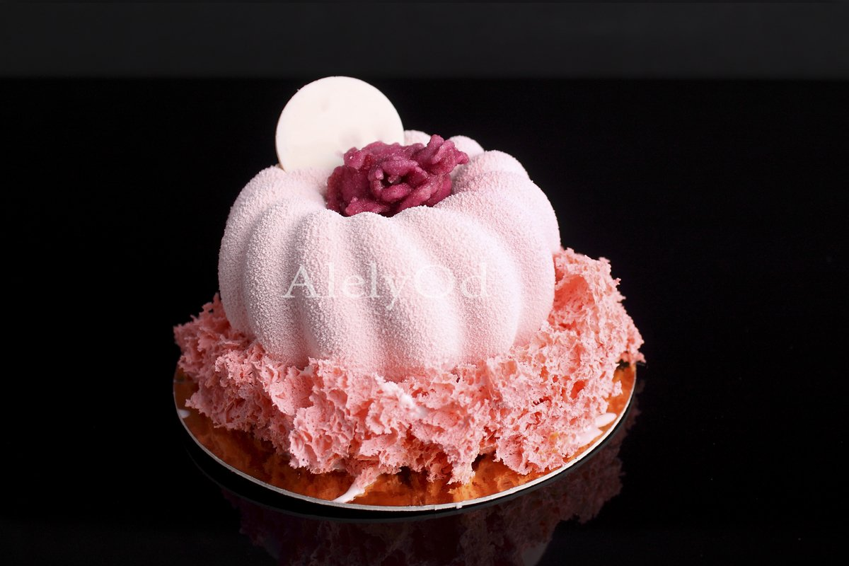 Pink cake with berry mousse in velvet glaze example image 1