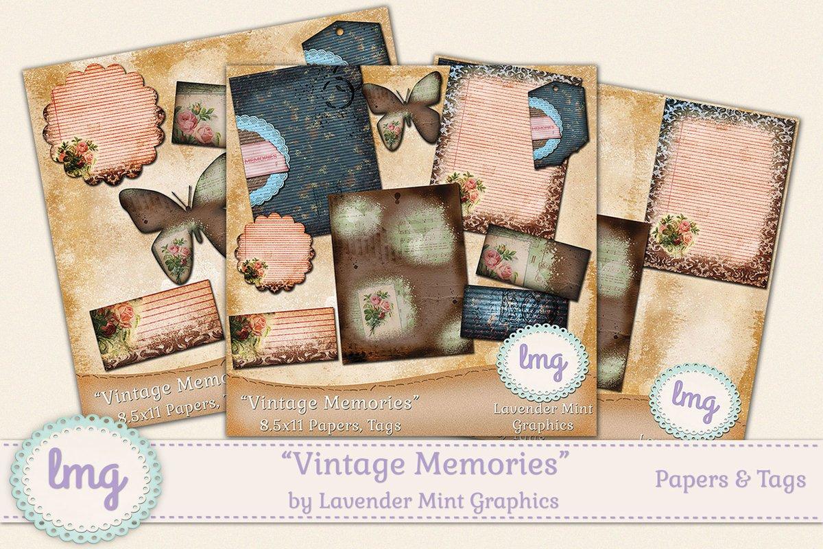 Vintage Memories Journal Kit-Digital Scrapbook Paper, Tags example image 1