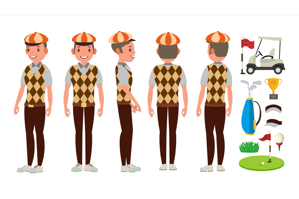 Golf Player Vector. Playing Golfer Male. Different Poses. example image 1