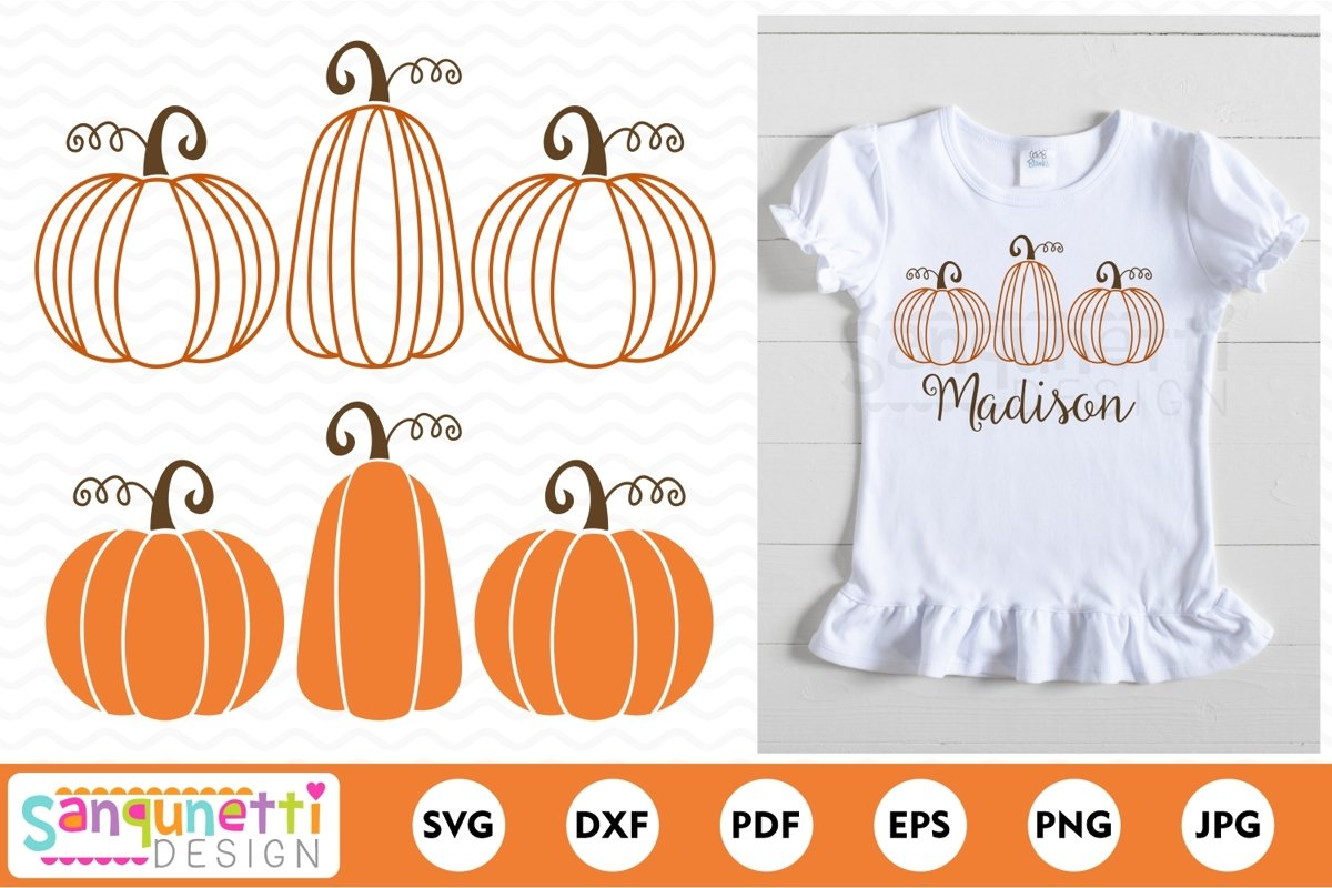 Pumpkin trio SVG, fall pumpkins cut file example image 1