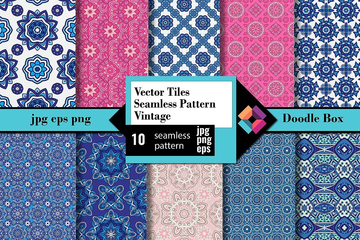 Vector Tiles Seamless Pattern Vintage example image 1