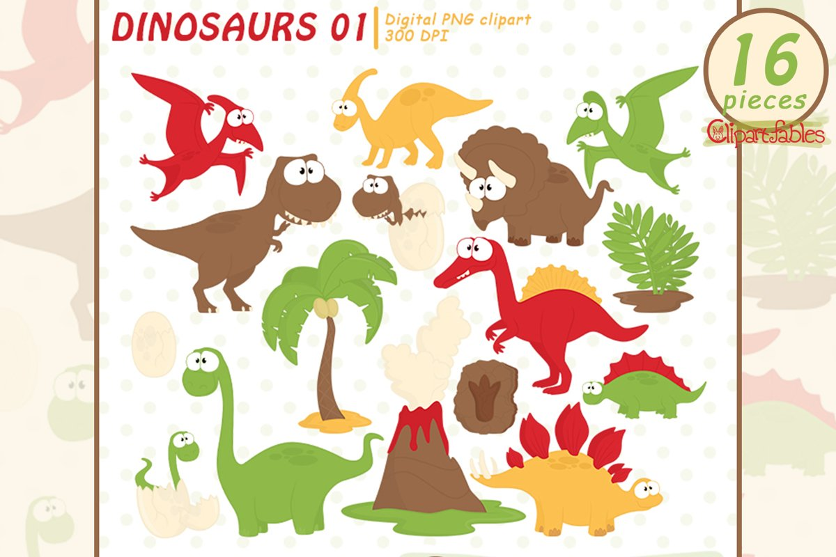 GOOD DINOSAURS clipart, Dino clip art - INSTANT, Printable example image 1