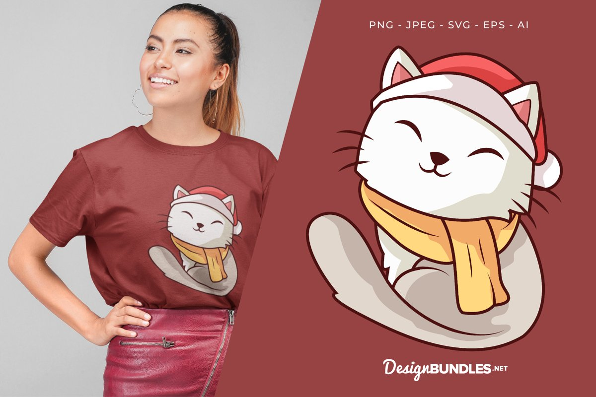 Smiling White Cat with Santa Hat Illustration For T-Shirt example image 1