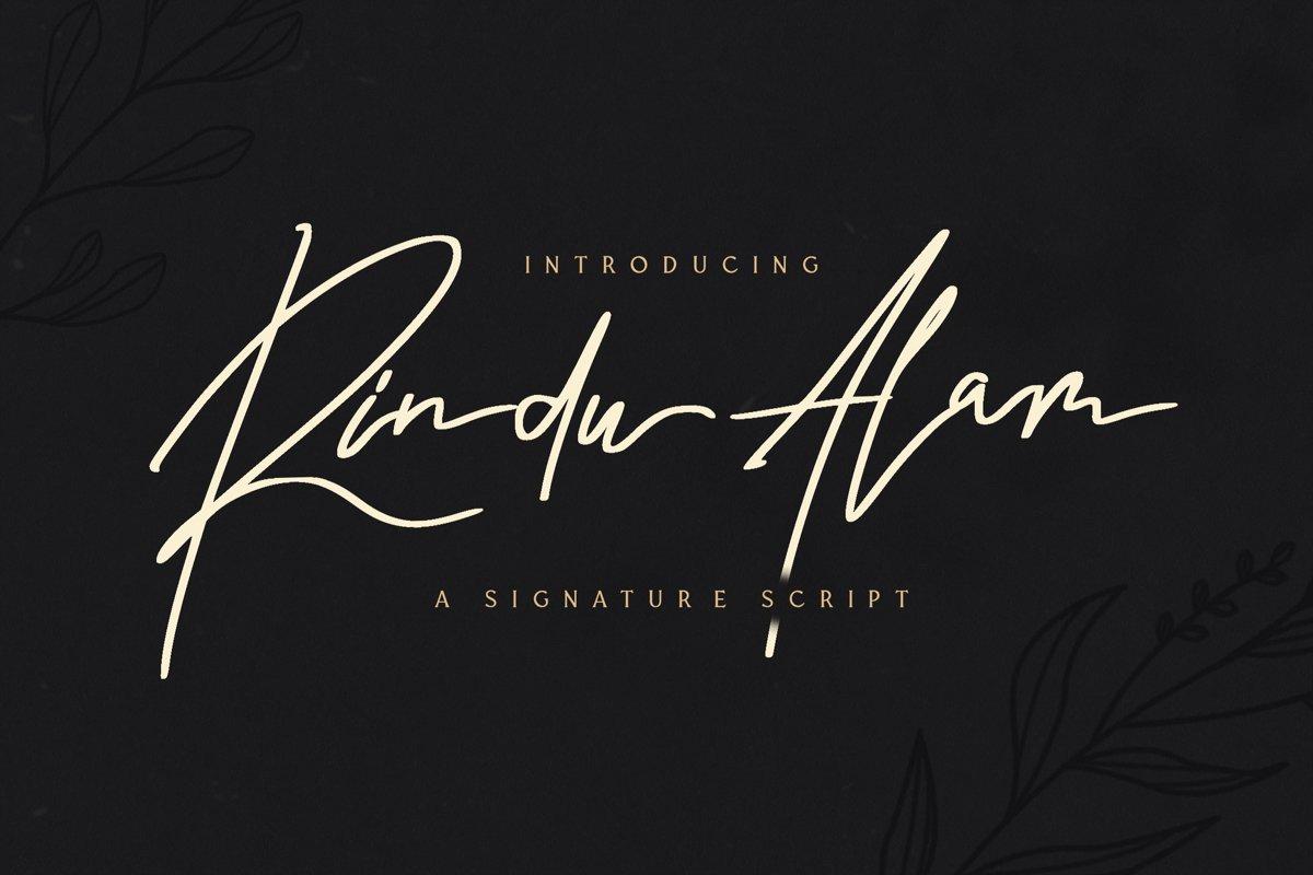 Rindu Alam - Signature Script Font example image 1