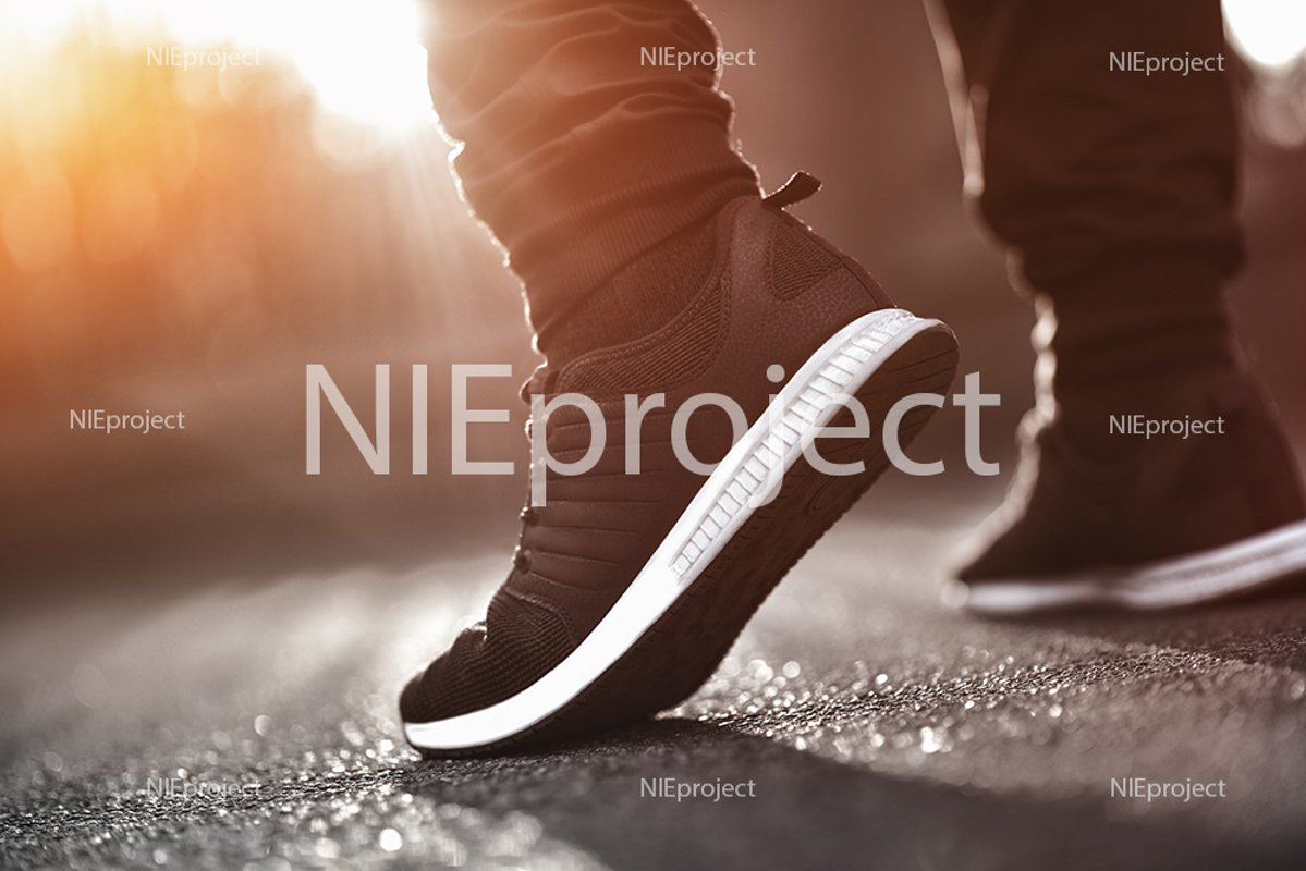 Men's sneakers close-up. Sports concept. example image 1