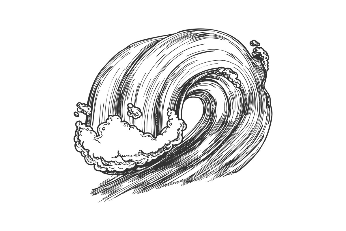Breaking Tropical Sea Marine Wave Storm Vector example image 1