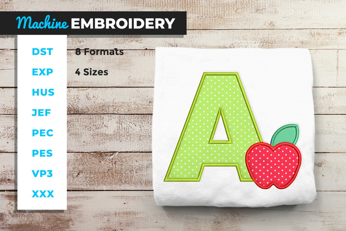 A for Apple Applique Machine Embroidery example image 1