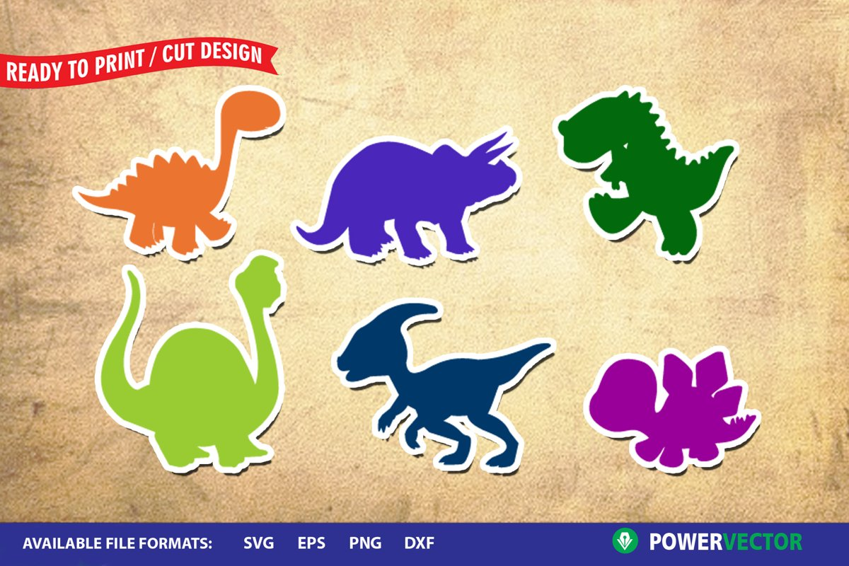 Dinosaurs SVG | Kiddie Animals Clipart example image 1
