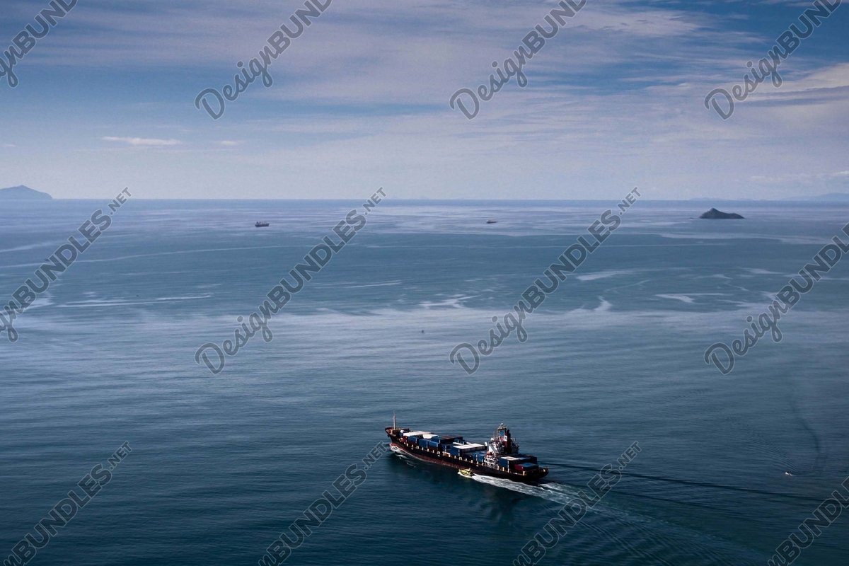Stock Photo - High Angle View of Sailing Vessels at Sea example image 1
