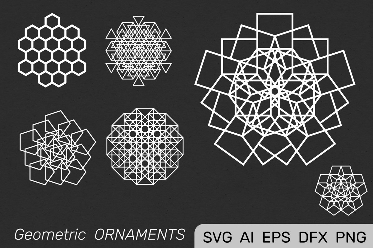 Geometric Decorative ORNAMENTS set. Mandala Stencil Design example image 1