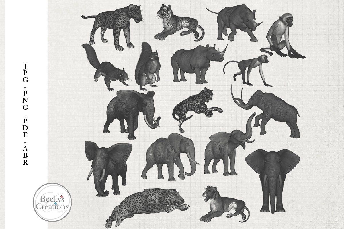 Animal Photoshop Brushes/Illustrations example image 1
