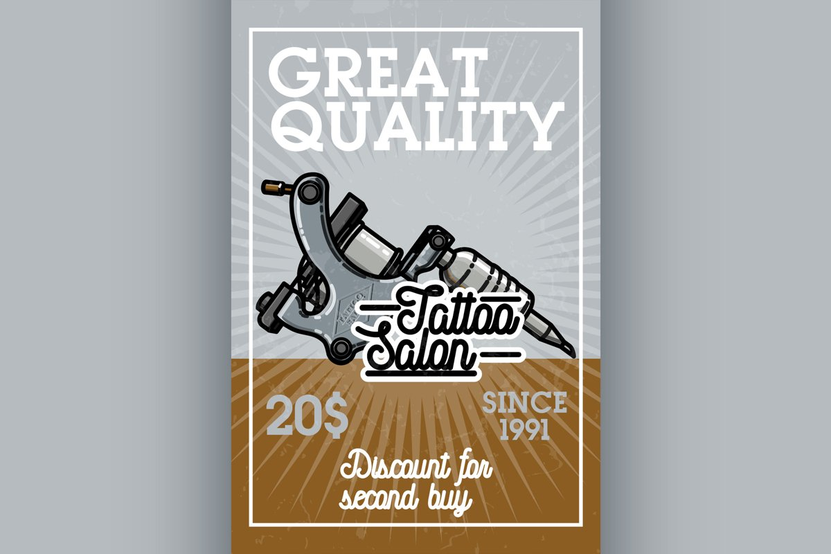 Color vintage tattoo shop banner example image 1