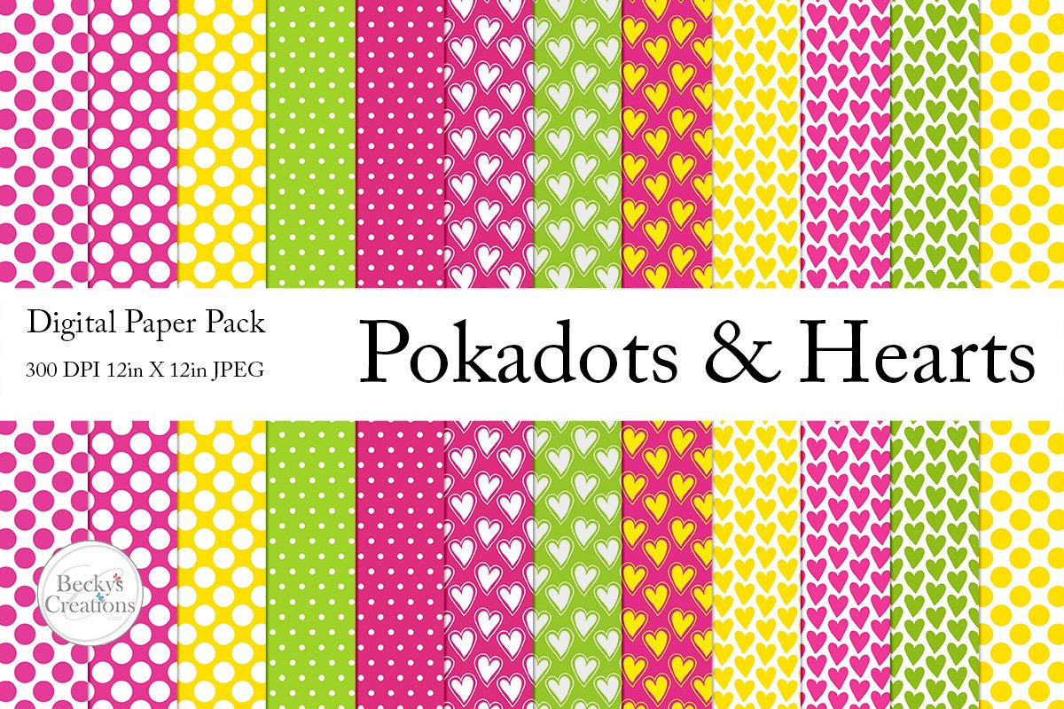 Pokadots and Hearts Paper Pack example image 1
