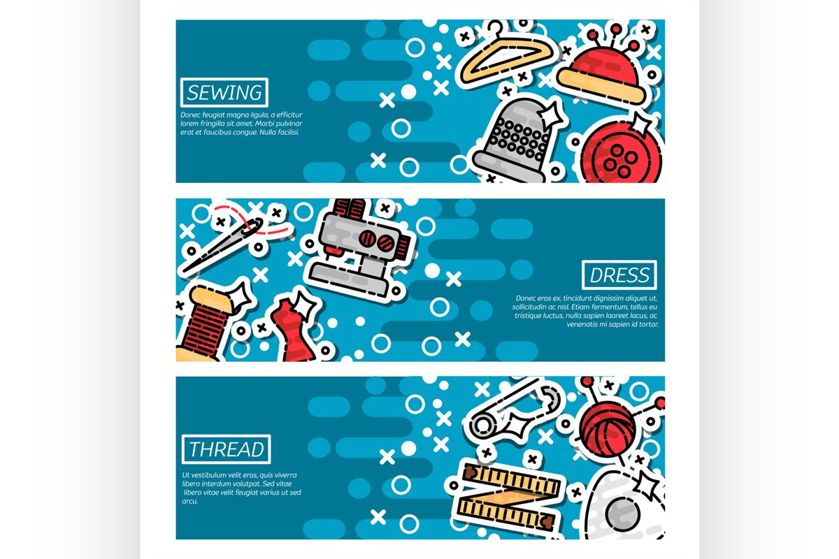 Set of Horizontal Banners about sewing example image 1