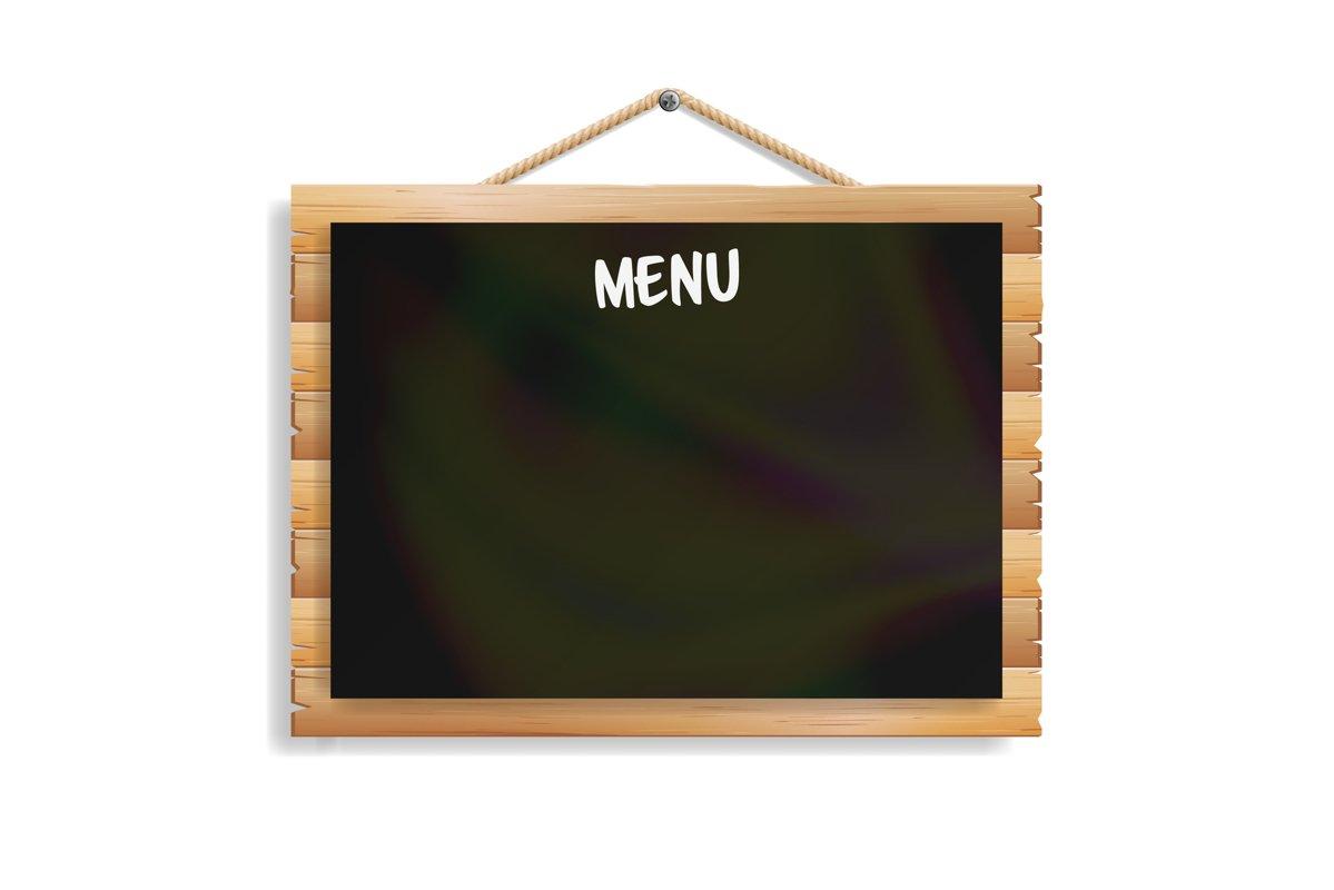 Menu Board. Cafe Or Restaurant Menu Bulletin Black Board. example image 1