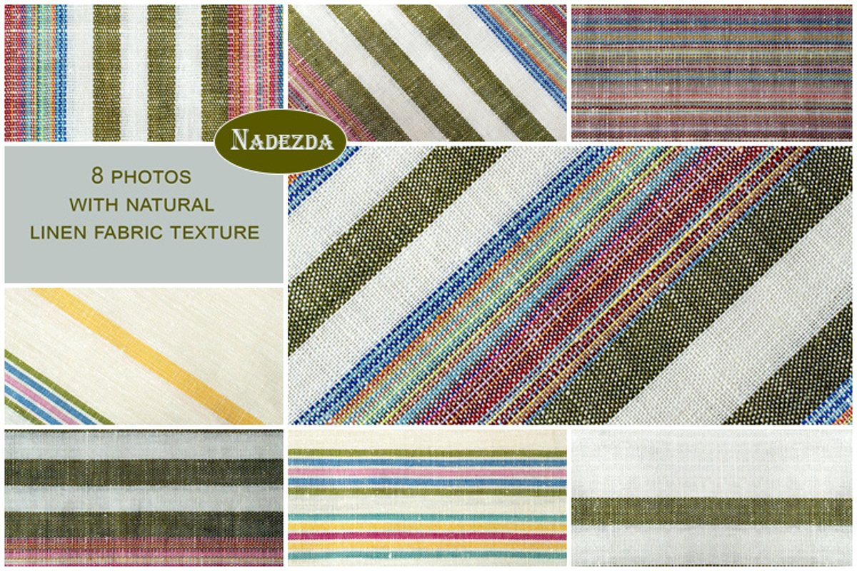 Striped colorful linen fabric example image 1