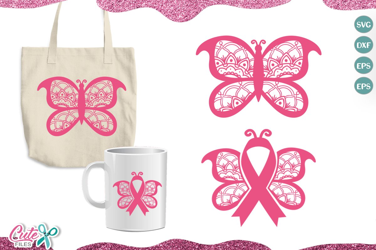 Butterfly and ribbon cancer SVG cut file for crafters example image 1