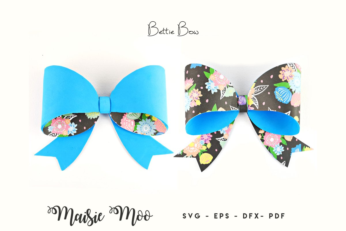 Folded Bow SVG, Hair Bow Template, Double sided Hair Bow example image 1