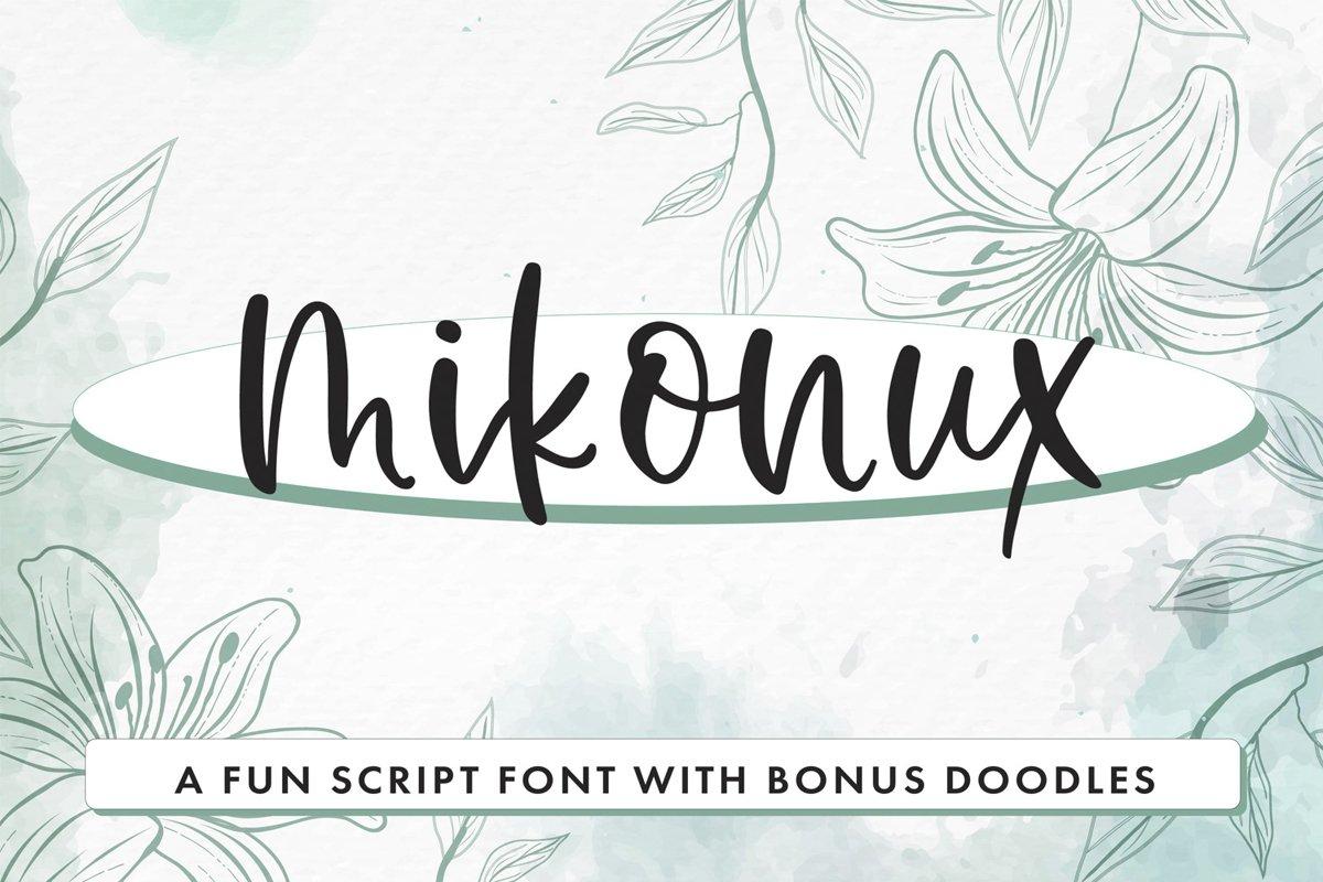Mikonux A Fun Script Font With Doodles example image 1