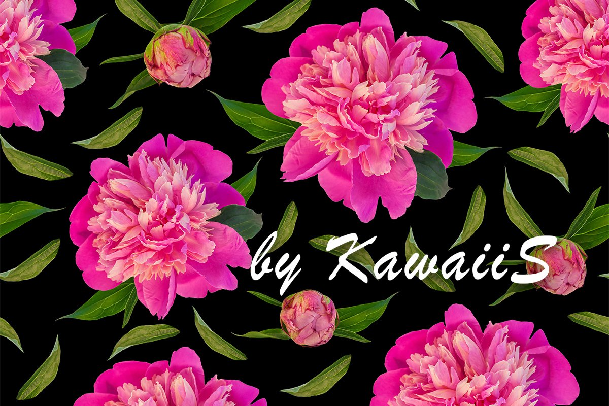 Pink peony flowers with green leaves seamless pattern black example image 1