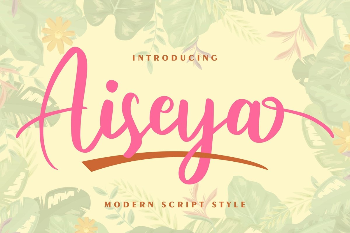Aiseya - Modern Script Style Font example image 1
