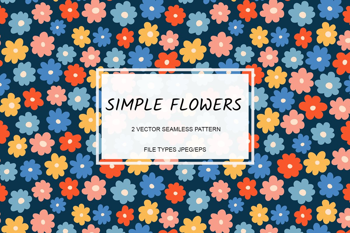 Vector seamless pattern with simple flowers. Eps/Jpeg example image 1